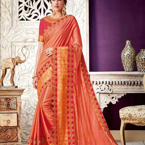 stylish Peach Color Dual Tone Georgette Saree 10207