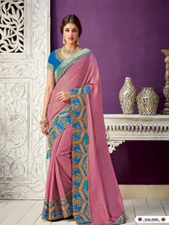 Exclusive Pink Color Dual Tone Georgette Party Wear Saree 10208
