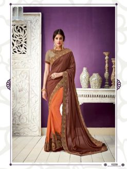 Owesome Brown And Orange Color Georgette Saree 10209