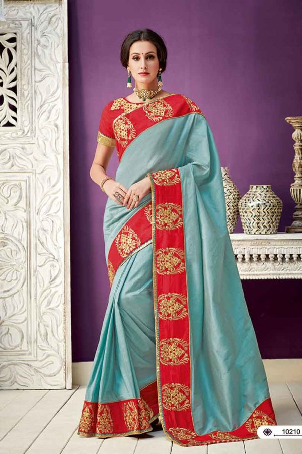 Stunning Blue Color Silk Party Wear Saree10210