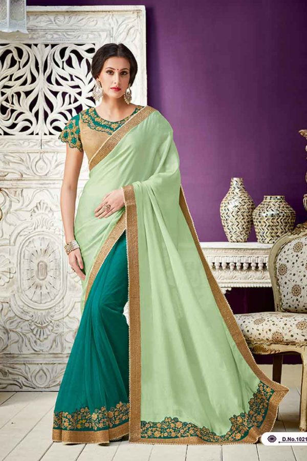 Green Color Georgette and Net Party Wear Saree 10216