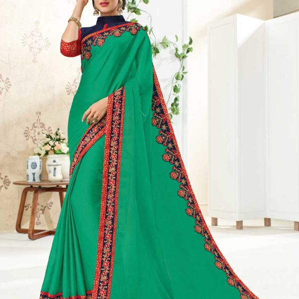 Amazing Green Color Floral Bordered Silk Saree 10261