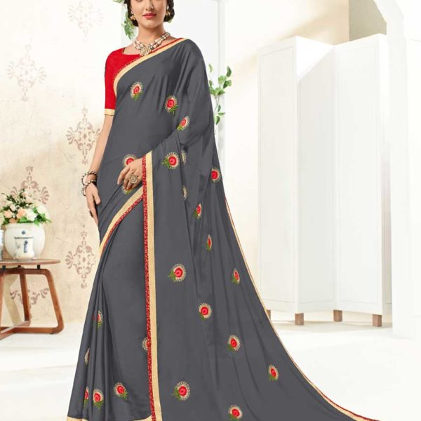 Stylish Grey Color Bright Georgette Party Wear Saree 10262