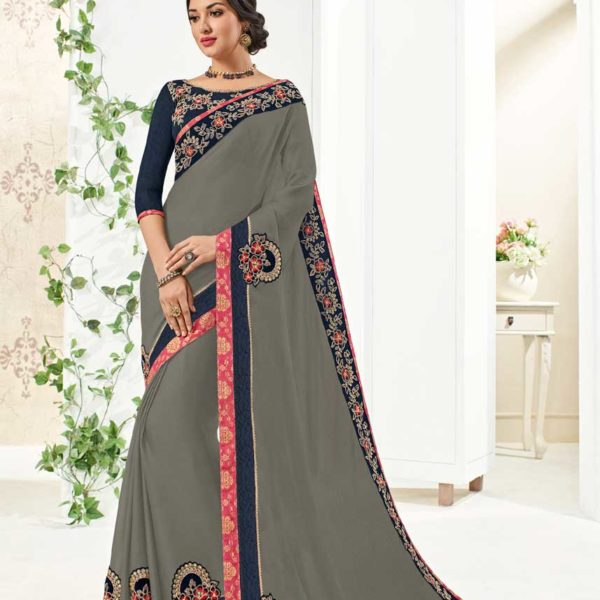 Fancy Grey Color Floral Embrodered Moss Chiffon Saree 10267