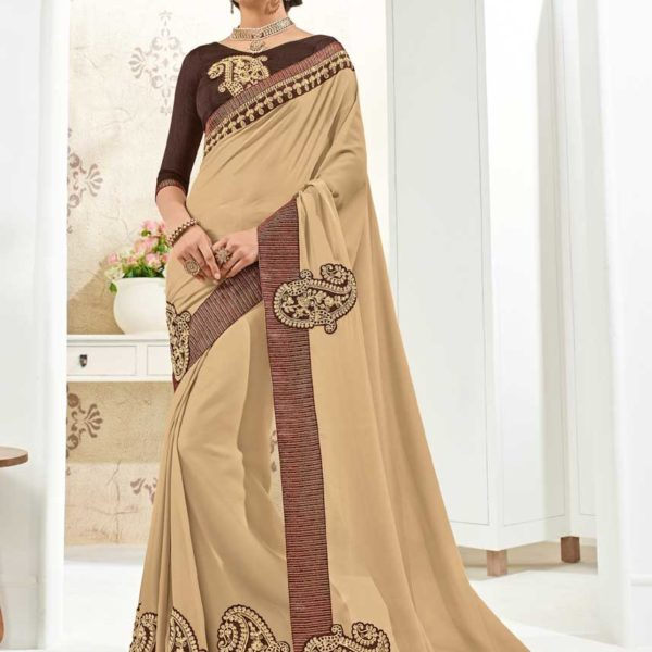 Fanciful Beige Color Bright Georgette Party Wear Saree 10269