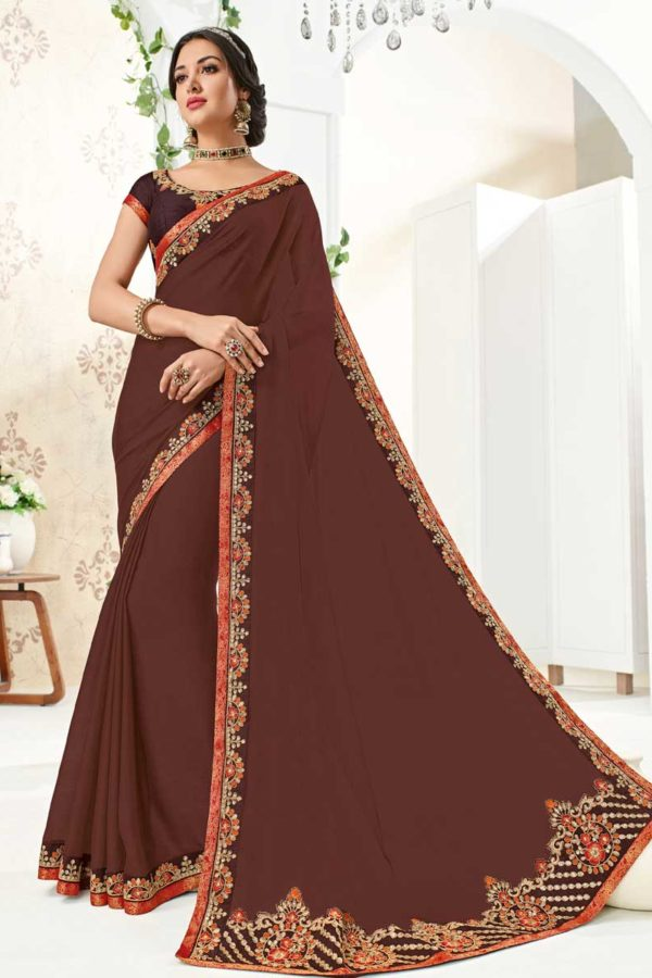 Amazing Brown Color Moss Chiffon Party Wear Saree 10271