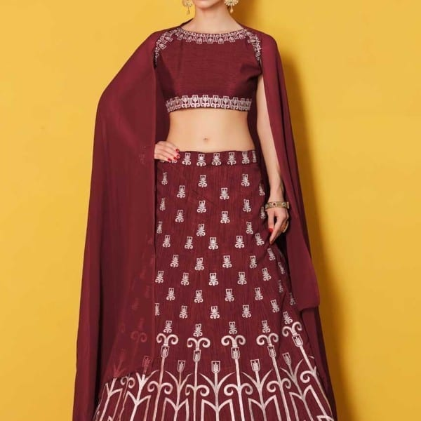 Majesty Maroon Colored Party Wear Designer Embroidered Art Silk Lehenga Choli 511 Maroon A
