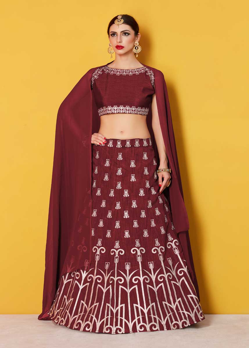 daf12406a7 Majesty Maroon Colored Party Wear Designer Embroidered Art Silk Lehenga  Choli 511 Maroon A