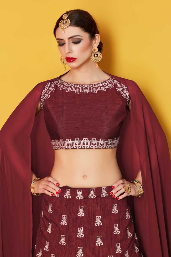 Majesty Maroon Colored Party Wear Designer Embroidered Art Silk Lehenga Choli 511 Maroon D