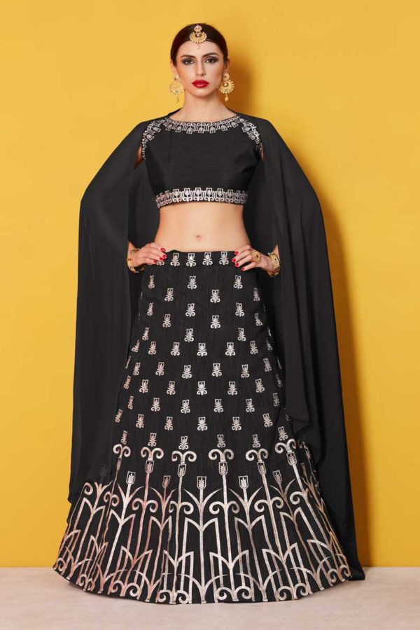 Gorgeous Black Designer Embroidered Art Silk Lehenga Choli 513 Black