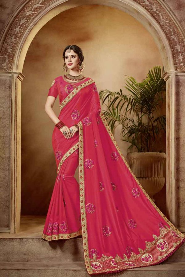 Eye-Catchy Red Colored Wedding Wear Embroidered Silk Saree 21315