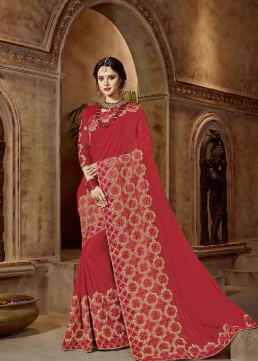 Lovely Red Color Heavy Embrodered Wedding Wear Saree 21319