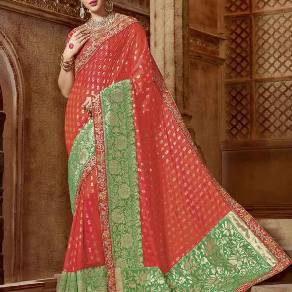 Glorious Orange-Green Colored Partywear Embroidered Two Tone Silk Saree 21321