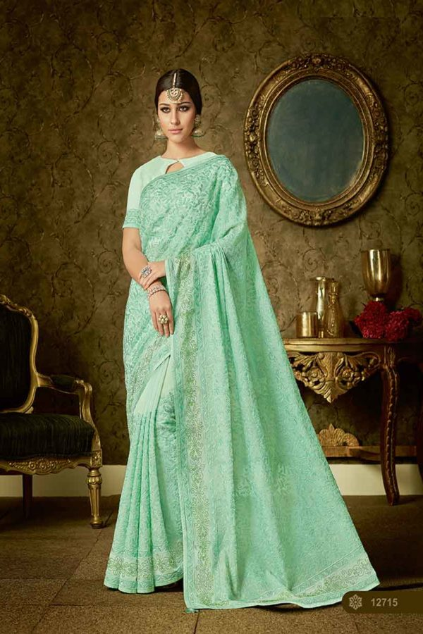 Lovely Sea Green Color Embrodered Organza Fabric Saree 12715