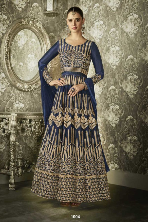 Demanding Navy Blue Colored Partywear Embroidered Mulberry Silk Anarkali Suit 1004
