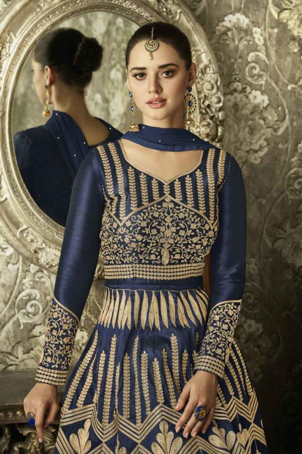 Demanding Navy Blue Colored Partywear Embroidered Mulberry Silk Anarkali Suit 1004 C
