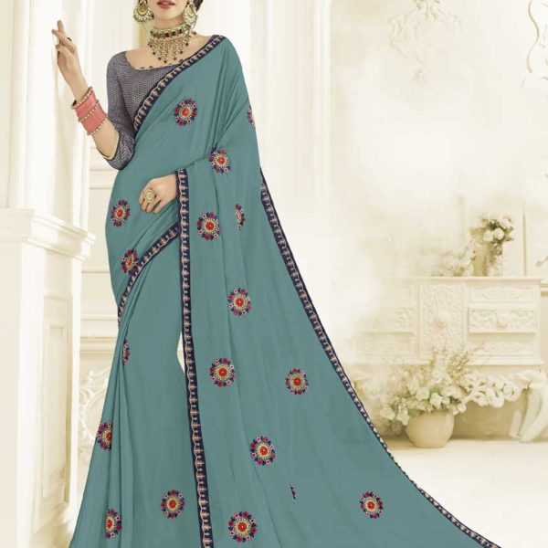 Stunning Blue Color Floral Embrodered Bright Georgette Saree 22145
