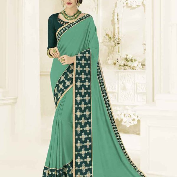 Amazing Green Color Silk Fabrics Party Wear Saree 22147