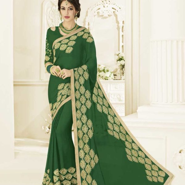 Charming Green Color Moss Chiffon Saree 22157