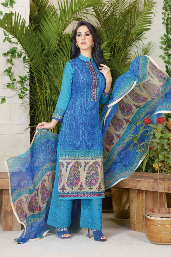 Stylish Blue Color Cotton Lawn Printed Daily Wear Salwar Kameez 3502
