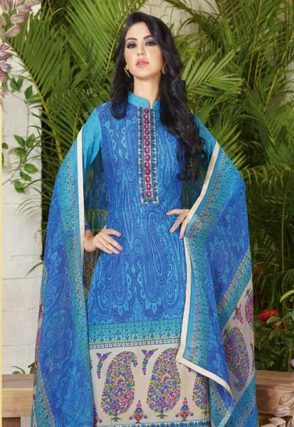 Stylish Blue Color Cotton Lawn Printed Daily Wear Salwar Kameez 3502 A