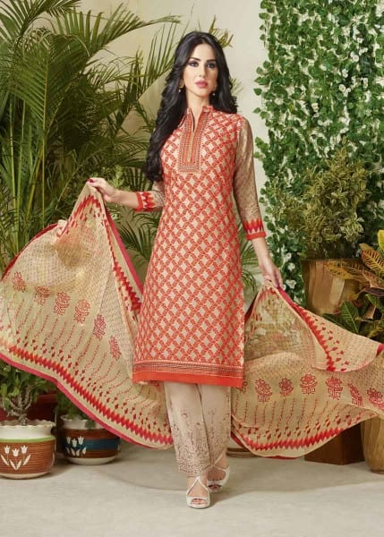 Fanciful Multi Color Cotton Lawn Printed Daily Wear Salwar Kameez 3503
