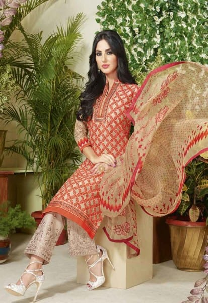 Fanciful Multi Color Cotton Lawn Printed Daily Wear Salwar Kameez 3503 A