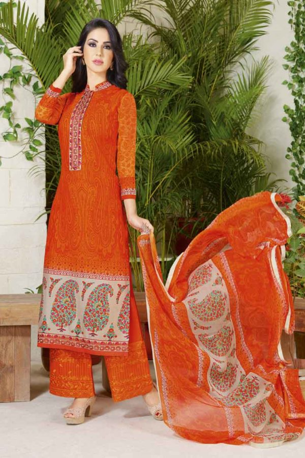Outstanding Orange Color Cotton Lawn Printed Daily Wear Salwar Kameez 3507
