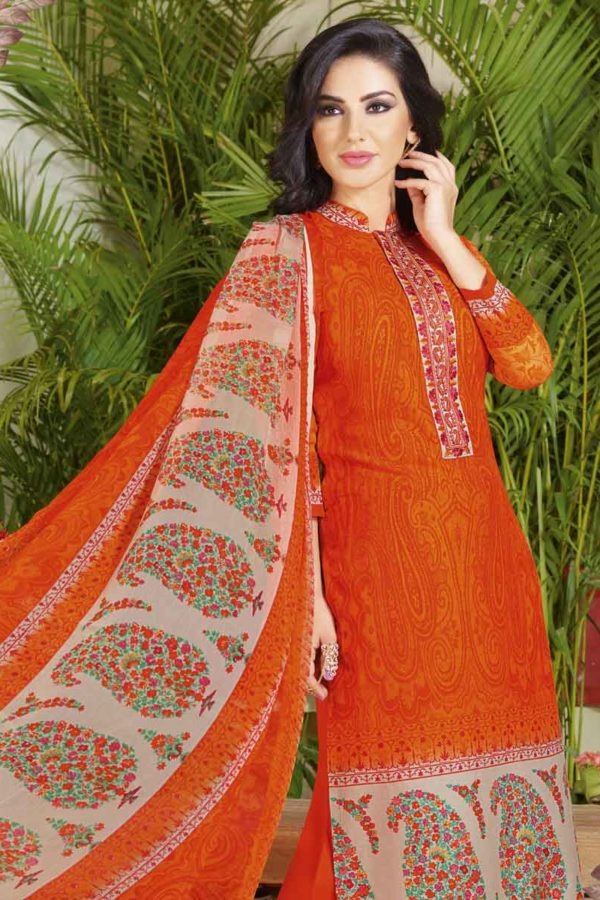 Outstanding Orange Color Cotton Lawn Printed Daily Wear Salwar Kameez 3507 A