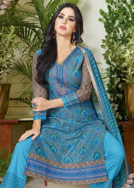 Beautiful Blue Color Cotton Lawn Printed Daily Wear Salwar Kameez 3508 A
