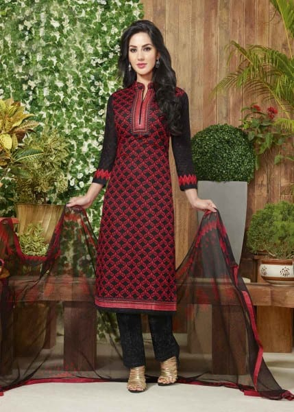 Red And Black Color Cotton Lawn Printed Office Wear Salwar Kameez 3510