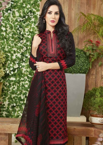 Red And Black Color Cotton Lawn Printed Office Wear Salwar Kameez 3510 A
