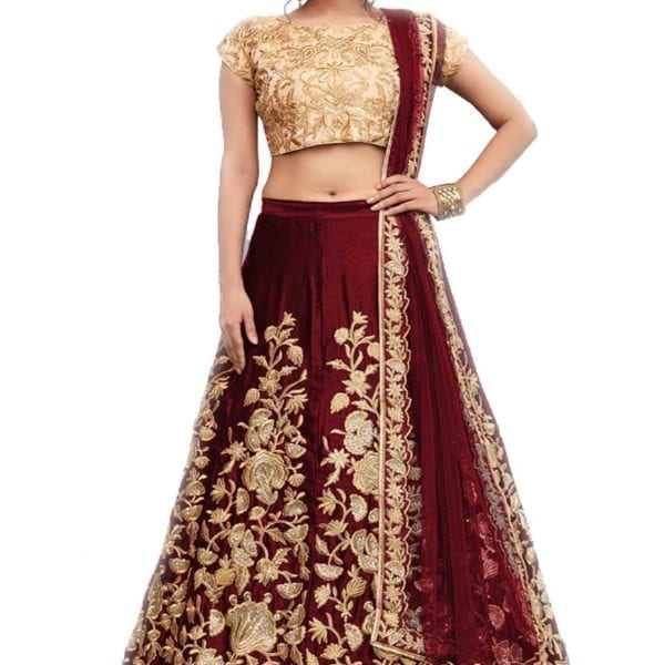 Regal Maroon Color Heavy Floral Embrodered Velvet Silk Lehenga AD751