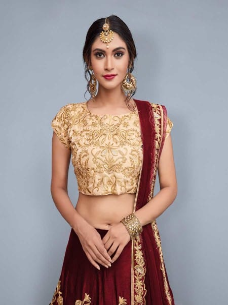 Regal Maroon Color Heavy Floral Embrodered Velvet Silk Lehenga AD751 A