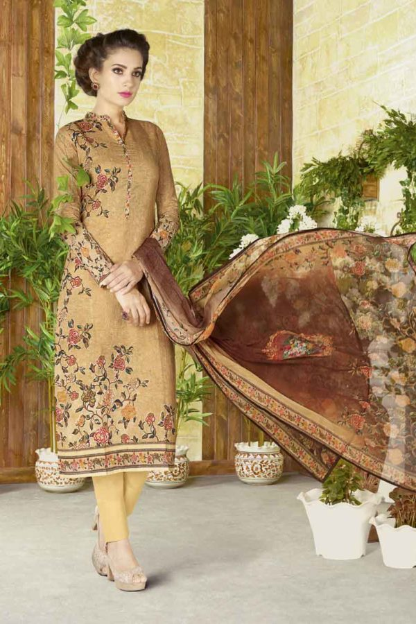 Fancy Brown Color Floral Print Cotton Lawn Salwar Kameez 1502