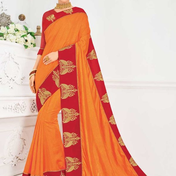 Dazzling Orange Color Two Tone Silk And Jacquard Saree 31312