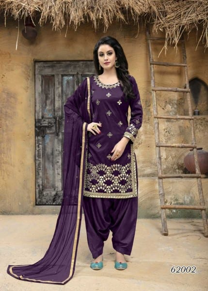 Elegant Purple Color Taffeta Silk Mirror Work Patiyala Salwar Kameez 62002