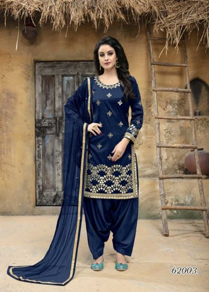 Navy Blue Color Taffeta Silk Mirror Work Patiyala Salwar Kameez 62003