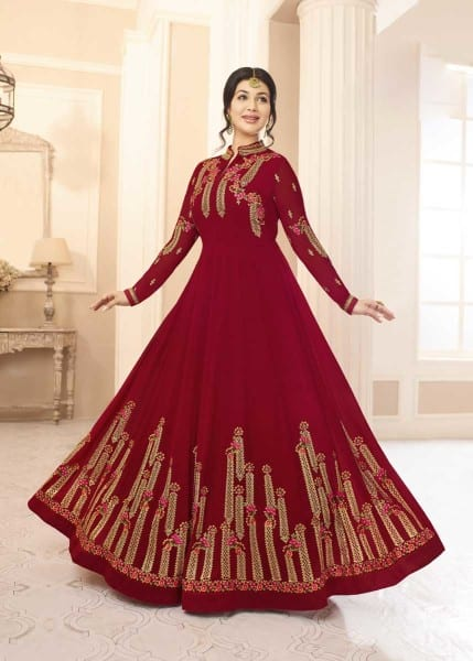 Stylish Maroon Color Real Georgette Floor Length Party Wear Anarkali Suit 20004