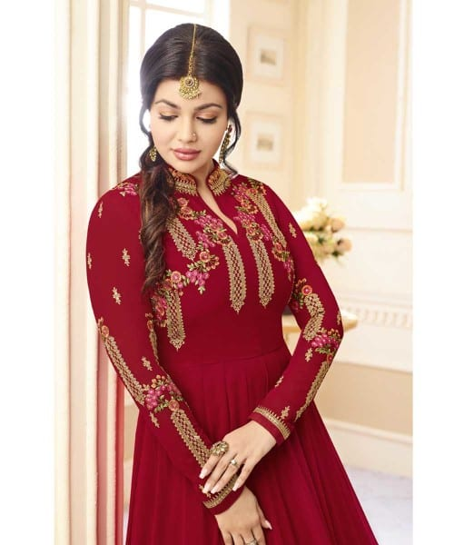 Stylish Maroon Color Real Georgette Floor Length Party Wear Anarkali Suit 20004 A