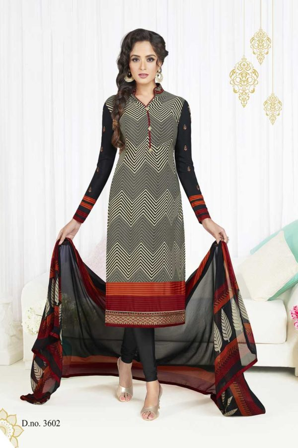 Black And Grey Color French Crape Dialy Wear Salwar Kameez 3602