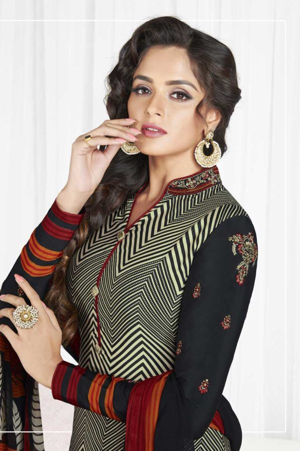 Black And Grey Color French Crape Dialy Wear Salwar Kameez 3602 A