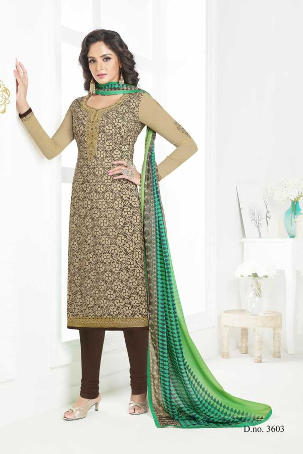 Fanciful Beige Color French Crape Dialy Wear Salwar Kameez 3603