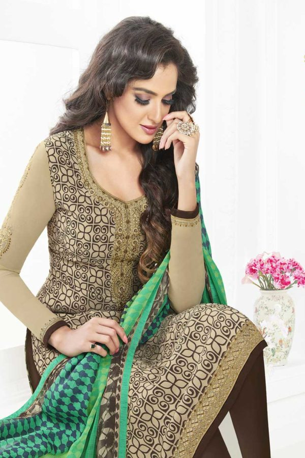 Fanciful Beige Color French Crape Dialy Wear Salwar Kameez 3603 A
