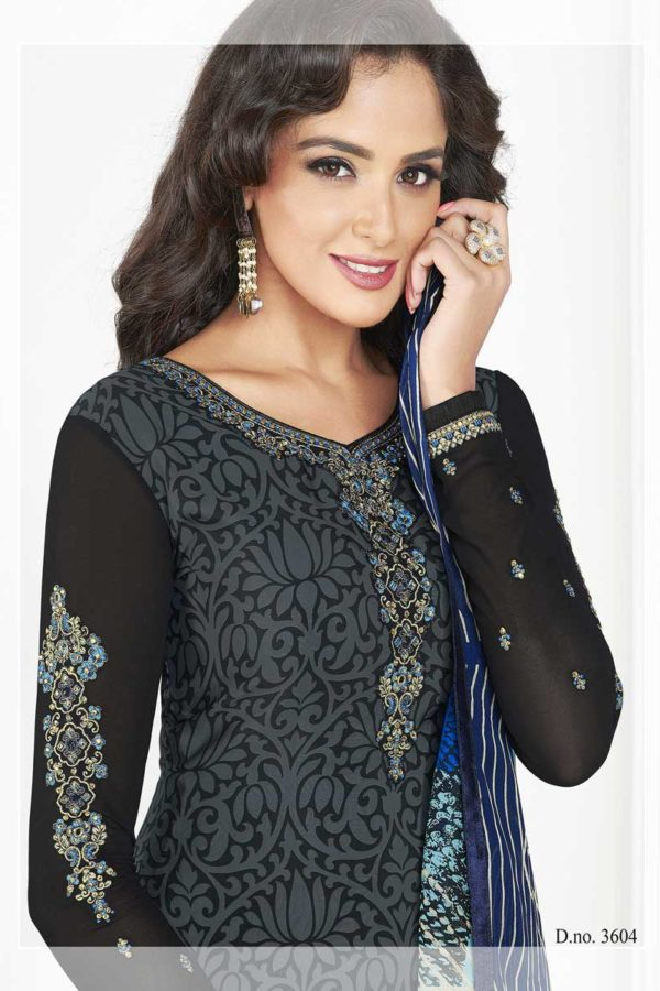 Exclusive Black Color French Crape Work Daily Wear Salwar Kameez 3604 A