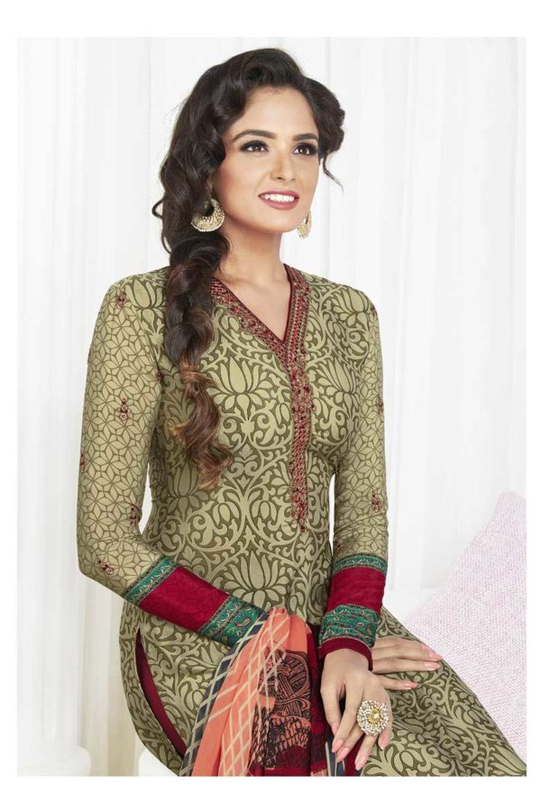 Golden Color French Crape Printed Daily Wear Salwar Kameez 3608 A