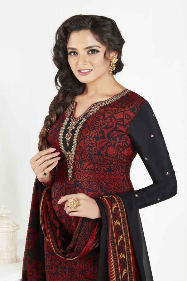 Black And Red Color French Crape Daily Wear Salwar Kameez 3609 A