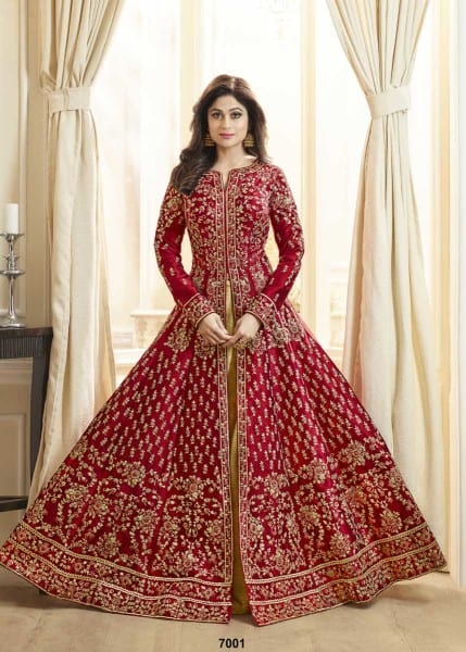 Dazzling Red Color Heavy Work Mulberry Silk Floor Length Anarkali Suit 7001