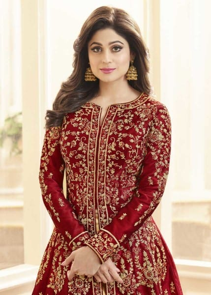 Dazzling Red Color Heavy Work Mulberry Silk Floor Length Anarkali Suit 7001 A
