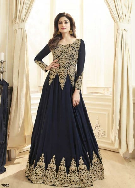 Majestic Navy Blue Color Heavy Work Real Georgette Anarkali Suit 7002